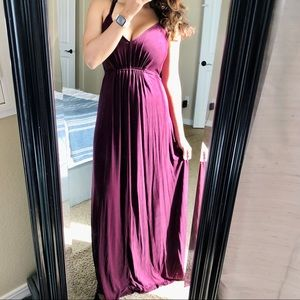 VS Moda International Maroon Empire Maxi Dress